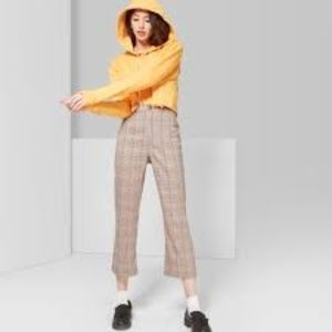 Plaid High-Rise Cropped Flare Pants